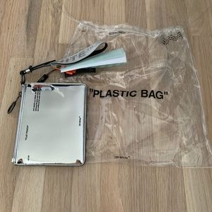 Off-white mirror double flat pouch - silver
